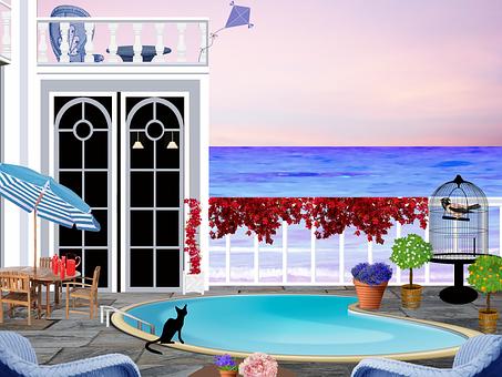 Patio, Swimming Pool, Seaside, Parasol, House