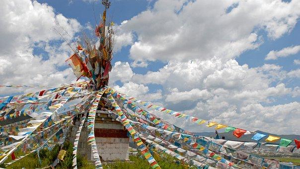Prayer Flags, Tibet, Landscape, Clouds, Tibetan