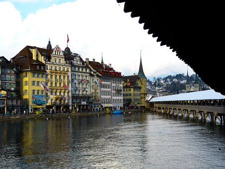 Lucerne, Switzerland, Chapel Bridge, Old Town, View