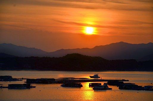 Sunset, Sea, Ships, Mountains, Yung Shue, Village