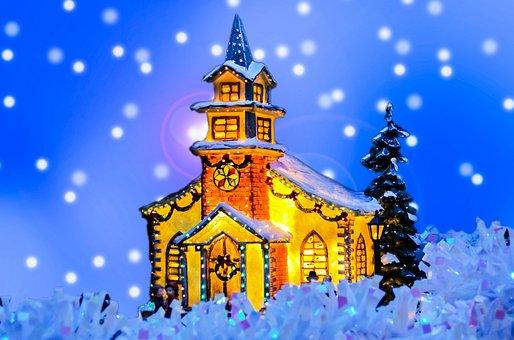 Card, Chapel, Christian, Christianity, Christmas