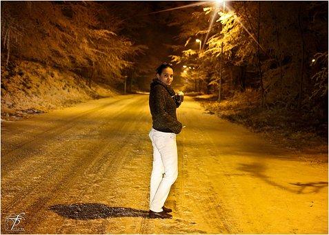 Girl, Woman, Standing, Cold, Night, Winter, Coffee