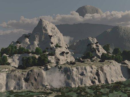 Coming Soon, 3d Art, Mountains, Cliffs, Waterfall