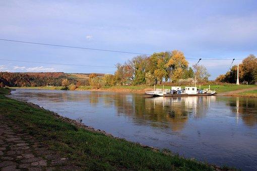 River, Water, Watercourse, Weser, Ferry, Sky, Landscape