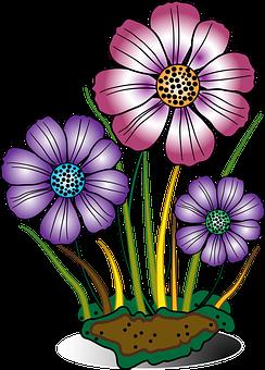 Decorative, Flower, Flowers, Grass, Green, Multicolor