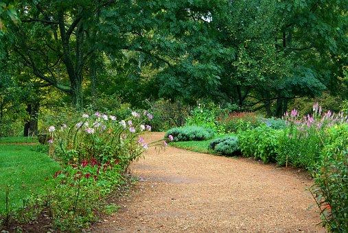Garden Path, Pea Gravel, Sand, Lawn, Flowers