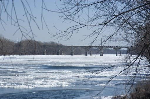 Delaware River, Frozen River, Winter, Bridge, Frozen
