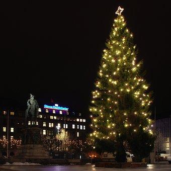 Malmo, Sweden, Night, Christmas Tree, Hotel, Statue