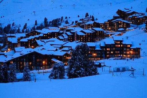 Alps, Blue, France, House, Landscape, Lights, Mountain