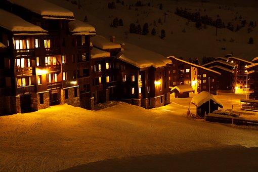 Alps, Orange, France, House, Landscape, Lights