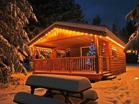Enlighted, Illuminated, Cabin, Building, Winter, Snow