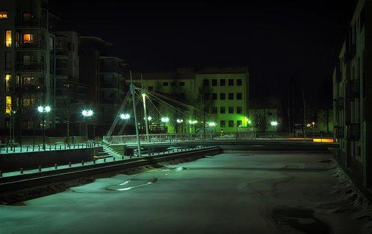 Oulu, Finland, Night, Evening, Lights