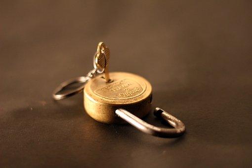 Padlock, Unlocked, Lock, Key, Gold, Close, Security
