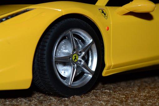 Car, Ferrari, Tire, Macro, Rim