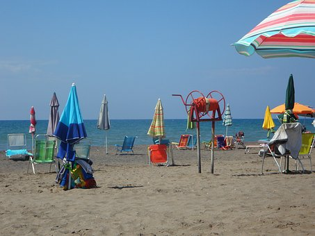 Beach, Mediterranean, Vacations, Parasols, Recovery