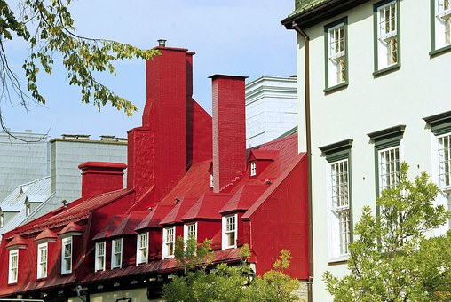 Canada, Quebec, Houses, Roofs, Red, Old Quebec