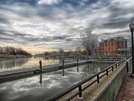 Delaware City, River, Canal, Water, Hdr, Sky, Clouds