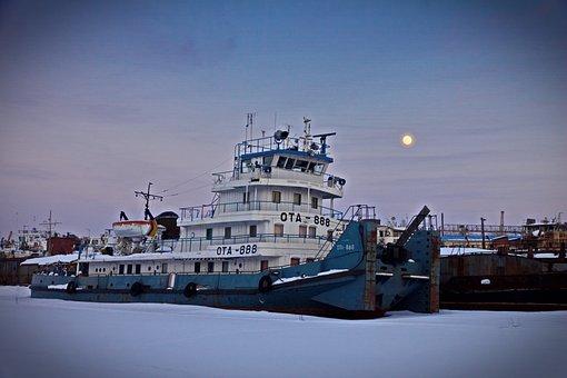 Ship, Port, Wintering, Evening