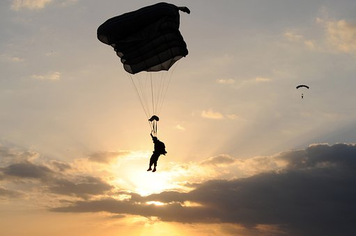 Parachute, Parachuting, Person, Silhouette, Silhouettes