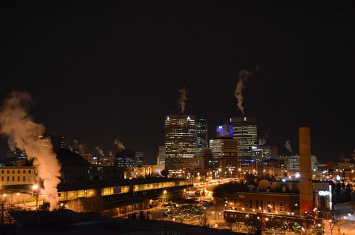 Winnipeg, Canada, Night, Evening, Skyline, City, Cities