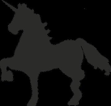 Unicorn, Mythical Creatures, Black, Symbol, Minimalist