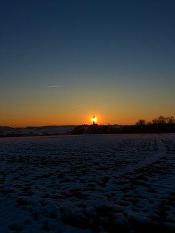 Landscape, Wintry, Winter, Field, Arable, Sunset