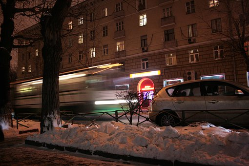 Bus, Motion, Blur, Speed, Night, Winter, City, Street