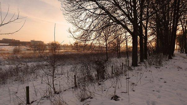 Blerick Aan De Maas, Winter Landscape, Evening Sun