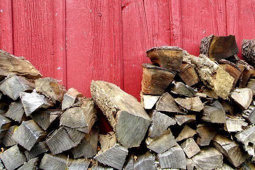 Barn, Wood, Chopped Wood, Red, Red Paint, Amish