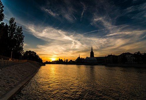 Poland, Wrocław, Landscape, City, River, Architecture