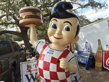 Marketing, Big Boy, Flea Market, Burger, Figur, Plastic