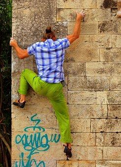 Street Boulder, Rock Climbing, Wall, Climbing, Climber