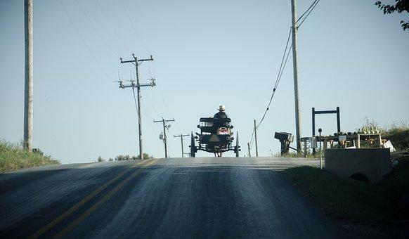 Amish, Coach, Road, Horse Drawn Carriage, Coachman
