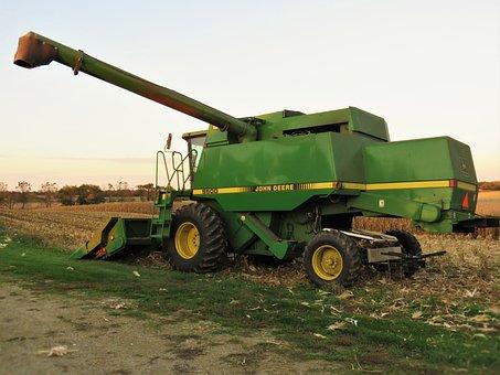 John, Deere, Combine, Harvest, Farm, Agriculture, Rural