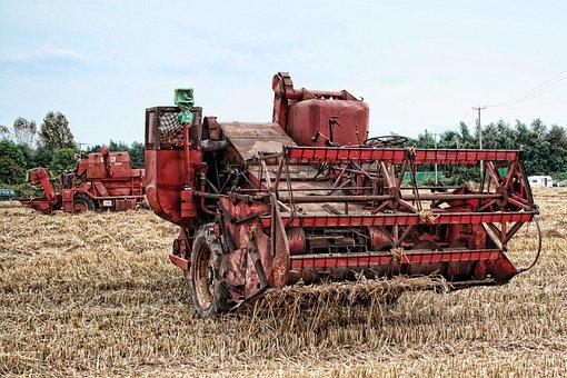 Combine Harvester, Farming, Agriculture, Harvest, Rural