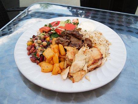 Chicken, Beef, Kebab, Diet, Salad, Lunch, Plate, Fresh