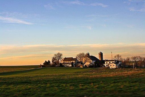 Amish, Countryside, Rural, Farm, Sky, Grass, Fields