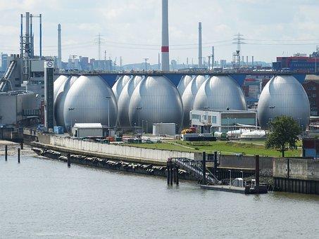 Hamburg, Altona, Port, Egg, Sewage Plant, Factory