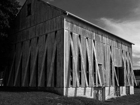 Amish, Tobacco, Barn, Crops, Harvest, Monochrome