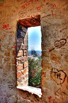 Window, Brick, Graffiti, Urban, Hdr, Sneak, Peak