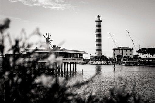 Jesolo, Sea, Lighthouse, Summer, Shades, Landscape