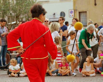 Dance, Sticks, Decorated, China, Ming, Woman, Fun Game