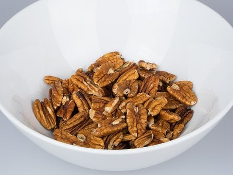 Pecan, Nut, Bowl, Isolated, Vegetarian, Natural