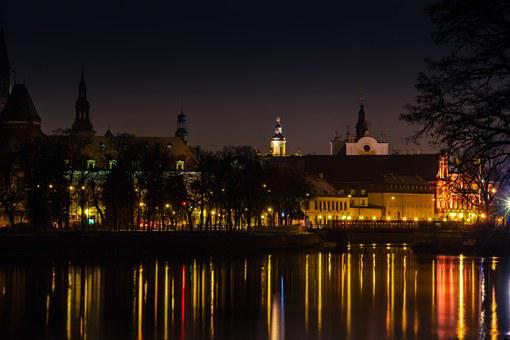 Wroclaw, River, Odra, Poland, Town, Water, Reflection
