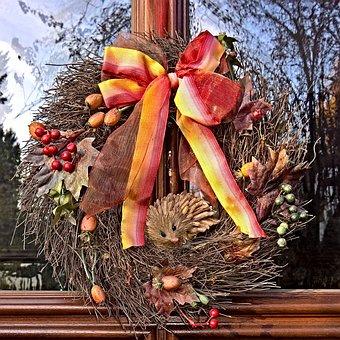 Autumn, Door Wreath, Decoration, Of Artificial Material