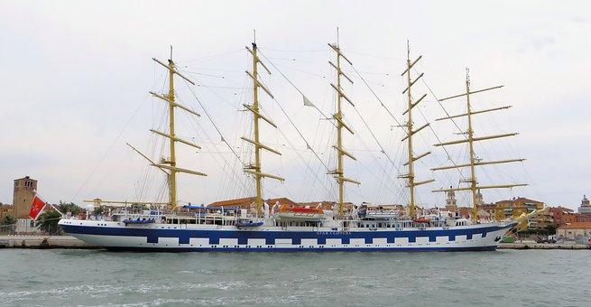 Five-masted, Clip, Ship, Sailing, Old Rig, Sailing Boat
