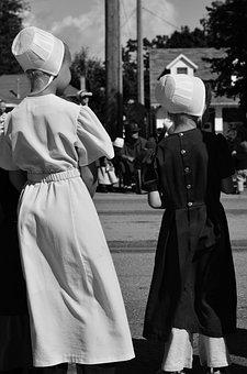 Amish, Girls, Parade, Bonnet, Clothing, Costume