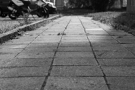 Pavement, Path, Walking, Walk, Shading, Black And White