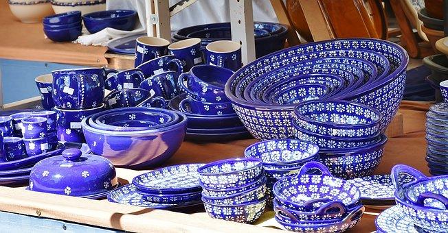 Tableware, Plate, Porcelain, Stack, Blue, White