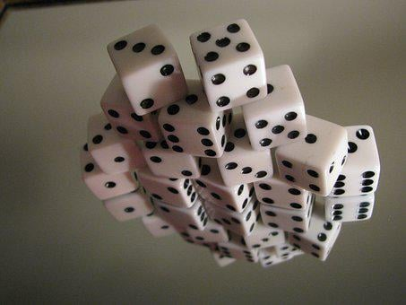 Dice, Stacked, Gambling, Chance, Play, Roll, Reflection